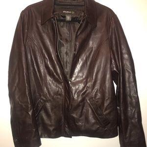 Large Eddie Bauer Chocolate Brown Leather Jacket